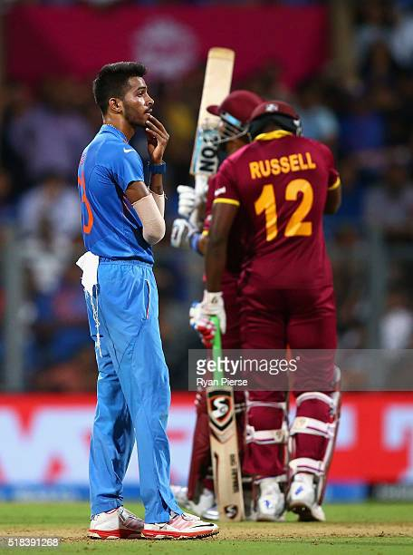 Hardik Pandya of India looks dejected after having Lendl Simmons of the West Indies caught off a no ball during the ICC World Twenty20 India 2016...
