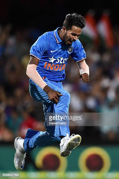 Hardik Pandya of India reacts after taking the wicket of Chris Lynn of Australia during game one of the Twenty20 International match between...