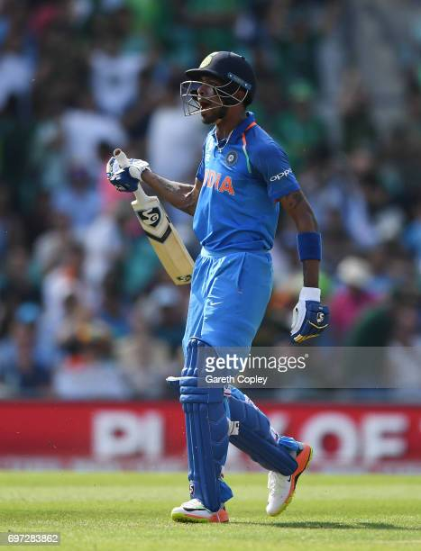 Hardik Pandya of India shows his frustration after being run out during the ICC Champions Trophy Final between India and Pakistan at The Kia Oval on...
