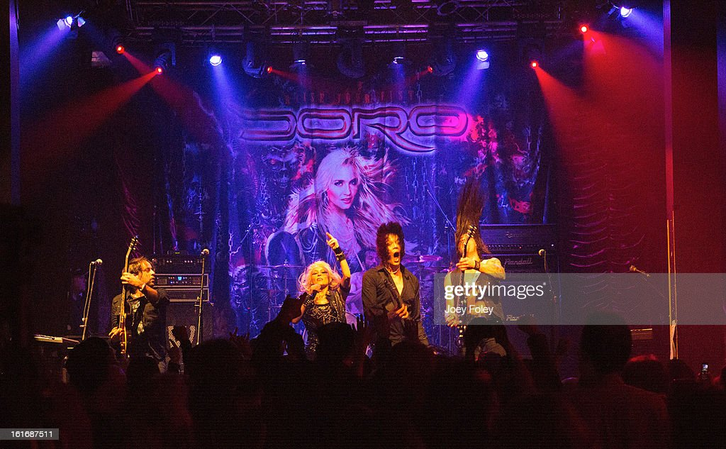 Hardrock band, DORO performs in concert at Mojoes on February 13, 2013 in Joliet, Illinois.