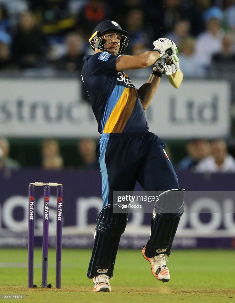 Hardus Viljoen of Derbyshire Falcons during the NatWest T20 Blast at The 3aaa County Ground on August 22, 2017 in Derby, England.
