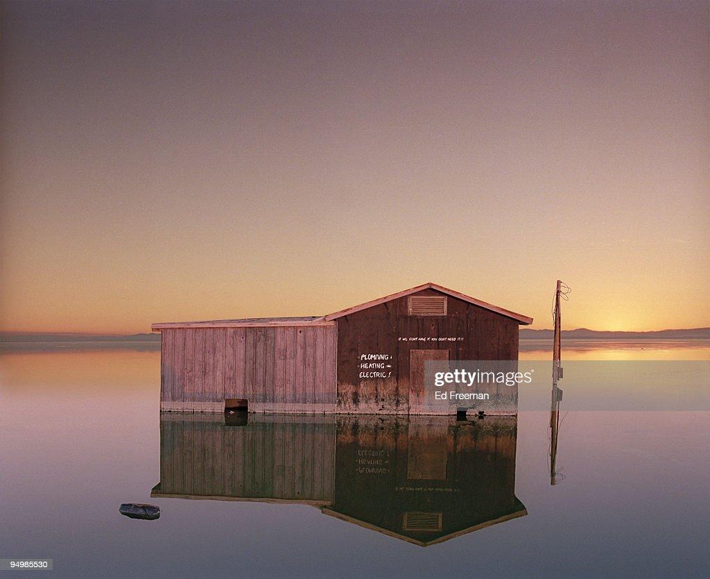 Hardware Store Sinking Into the Salton Sea : Stock Photo