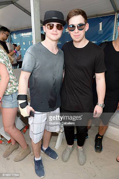 Hardwell and guest at SiriusXM's 'UMF Radio' Broadcast Live From The SiriusXM Music Lounge at 1 Hotel South Beach at 1 Hotel South Beach on March 18...