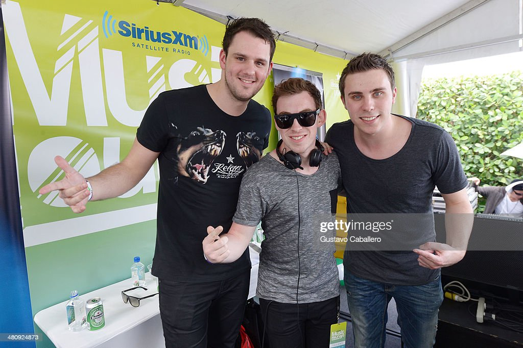 Hardwell and WandW onstage at SiriusXM's 'UMF Radio' at the SiriusXM Music Lounge at W South Beach on March 27 2014 in Miami Beach Florida