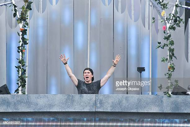 Hardwell performs at the EDC UK kineticFIELD main stage at Milton Keynes Bowl on July 11 2015 in Milton Keynes England