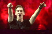 Hardwell performs during the Ultra Music Festival at Bayfront Park Amphitheater on March 30 2014 in Miami Florida