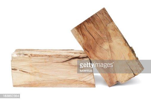 木製のログ白で分離