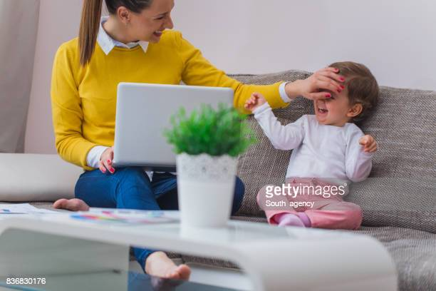 Hardworking young mother