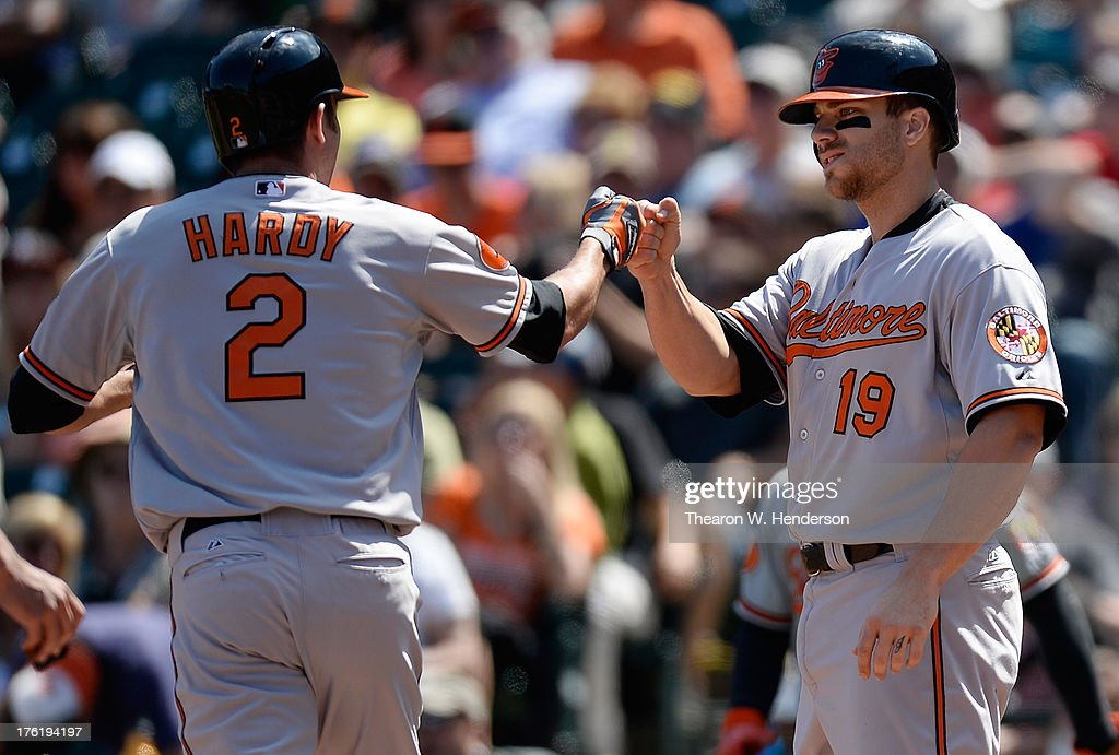 <a gi-track='captionPersonalityLinkClicked' href=/galleries/search?phrase=J.J.+Hardy&family=editorial&specificpeople=216446 ng-click='$event.stopPropagation()'>J.J. Hardy</a> #2 and Chris Davis #19 of the Baltimore Orioles celebrate a two-run homer hit by Hardy in the sixth inning against the San Francisco Giants at AT&T Park on August 11, 2013 in San Francisco, California. Davis was on base when Hardy hit the home run.