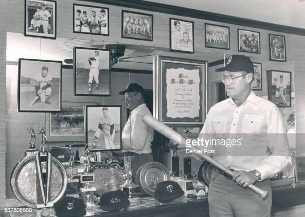 Hardy Carroll Carroll Hardy in his office with baseball memorabilia 10/1986