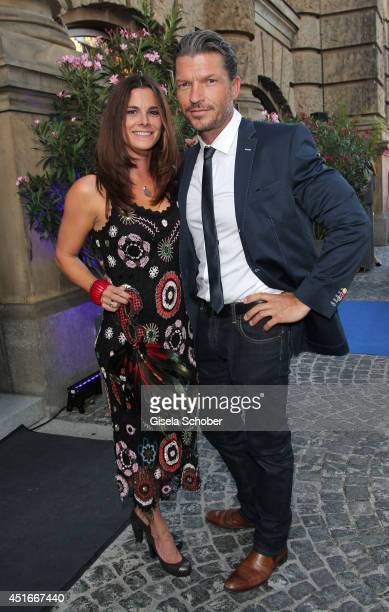 Hardy Krueger jr and his wife Katrin attend the CIROC VODKA Masquerade Night at Heart on July 3 2014 in Munich Germany