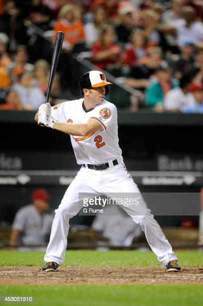 J Hardy of the Baltimore Orioles bats against the Los Angeles Angels of Anaheim at Oriole Park at Camden Yards on July 29 2014 in Baltimore Maryland