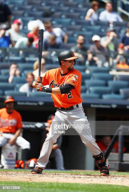 J Hardy of the Baltimore Orioles bats against the New York Yankees during their game at Yankee Stadium on April 29 2017 in New York City