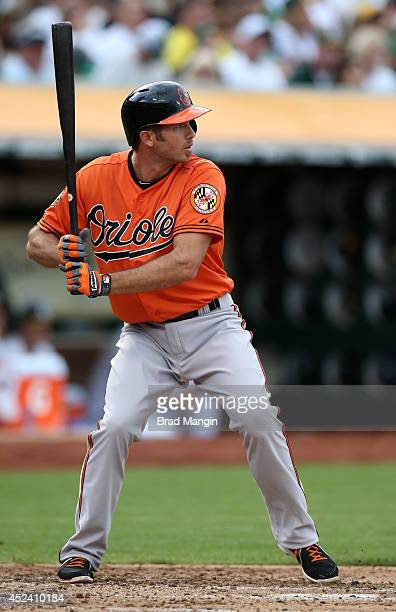 J Hardy of the Baltimore Orioles bats against the Oakland Athletics during the game at Oco Coliseum on Saturday July 19 2014 in Oakland California