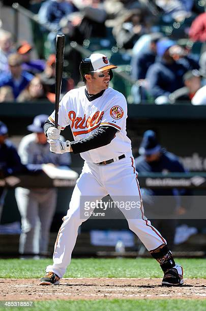 J Hardy of the Baltimore Orioles bats against the Tampa Bay Rays at Oriole Park at Camden Yards on April 16 2014 in Baltimore Maryland All uniformed...