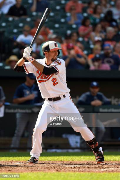 J Hardy of the Baltimore Orioles bats against the Tampa Bay Rays at Oriole Park at Camden Yards on September 24 2017 in Baltimore Maryland