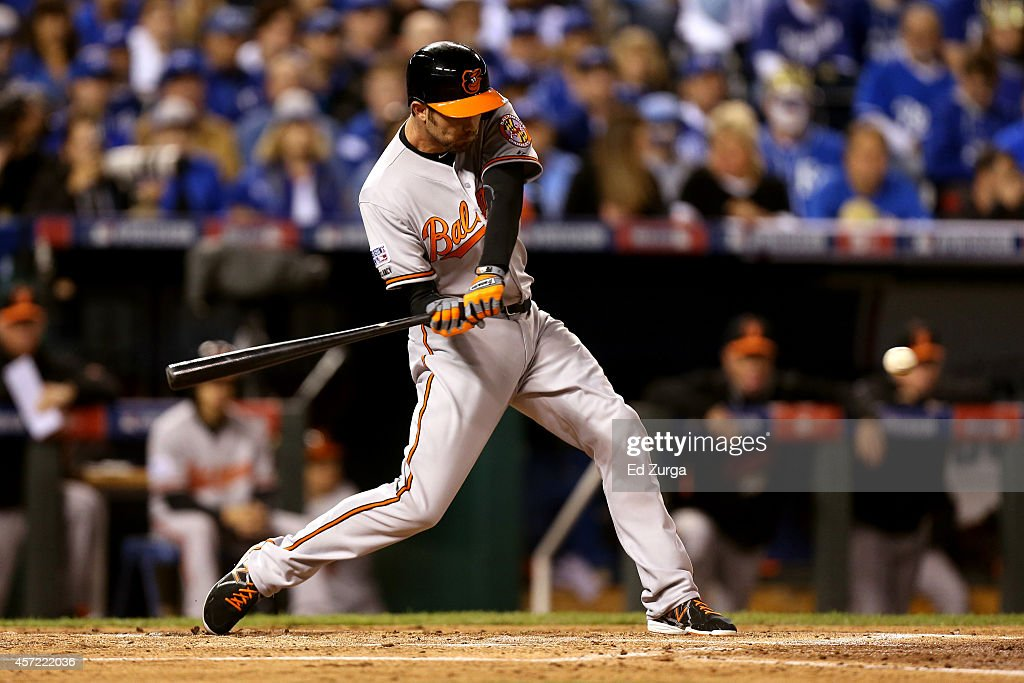 <a gi-track='captionPersonalityLinkClicked' href=/galleries/search?phrase=J.J.+Hardy&family=editorial&specificpeople=216446 ng-click='$event.stopPropagation()'>J.J. Hardy</a> #2 of the Baltimore Orioles bats in the second inning against Jeremy Guthrie #11 of the Kansas City Royals during Game Three of the American League Championship Series at Kauffman Stadium on October 14, 2014 in Kansas City, Missouri.