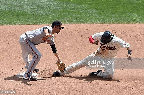 J Hardy of the Baltimore Orioles catches Aaron Hicks of the Minnesota Twins stealing second base during the fourth inning of the game on July 8 2015...