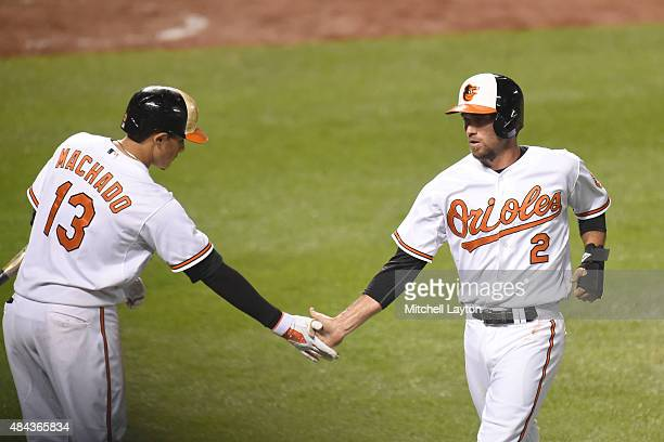 J Hardy of the Baltimore Orioles celebrates scoring a run with Manny Machado on a Caleb Joseph double in sixth inning during a baseball game against...