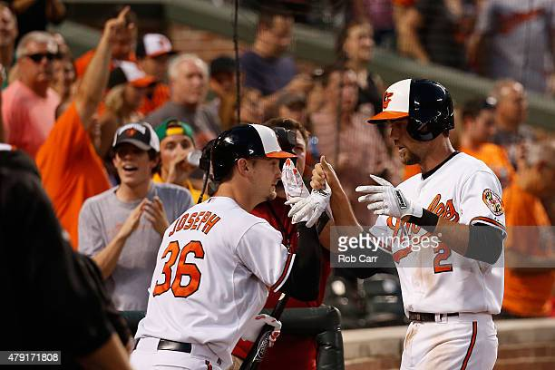 J Hardy of the Baltimore Orioles celebrates with Caleb Joseph after hitting a two RBI home run against the Texas Rangers in the seventh inning of the...