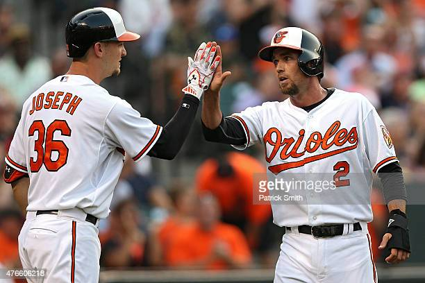 J Hardy of the Baltimore Orioles celebrates with Caleb Joseph after scoring off of a double hit by teammate Ryan Flaherty in the second inning...