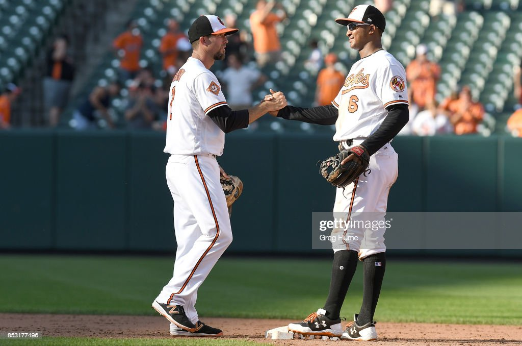 J.J. Hardy #2 of the Baltimore Orioles celebrates with Jonathan Schoop #6 after a victory against the Tampa Bay Rays at Oriole Park at Camden Yards on September 24, 2017 in Baltimore, Maryland.