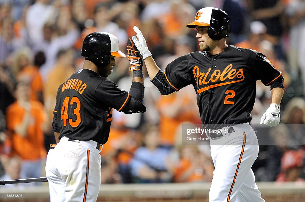 JJ Hardy 2 Of The Baltimore Orioles Celebrates With Rey