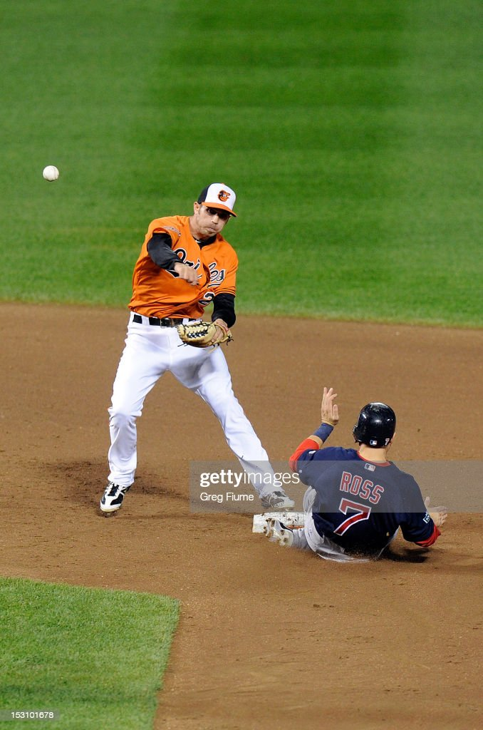 J.J. Hardy #2 of the Baltimore Orioles forces out <a gi-track='captionPersonalityLinkClicked' href=/galleries/search?phrase=Cody+Ross&family=editorial&specificpeople=545810 ng-click='$event.stopPropagation()'>Cody Ross</a> #7 of the Boston Red Sox to start a double play in the sixth inning at Oriole Park at Camden Yards on September 29, 2012 in Baltimore, Maryland.