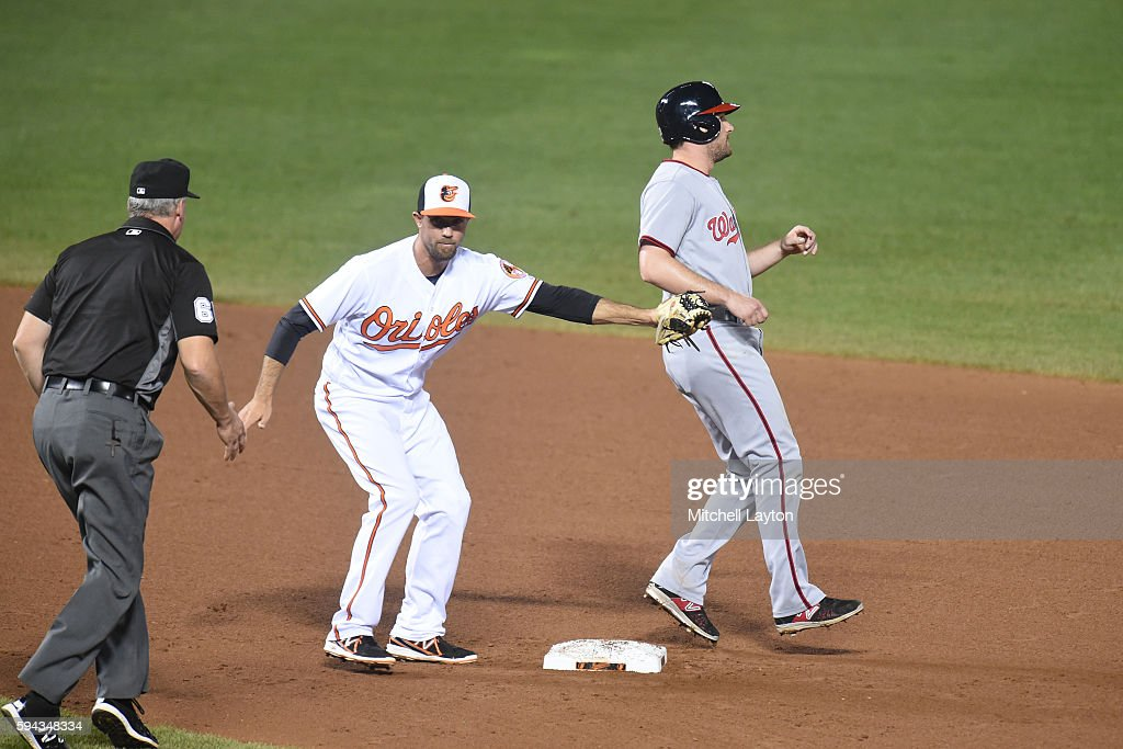 J.J. Hardy #2 of the Baltimore Orioles forces out Daniel Murphy #20 of the Washington Nationals on second base on a Bryce Harper #34 (not pictured) fielder's choice in the seventh inning during a baseball game at Oriole Park at Camden Yards on August 22, 2016 in Baltimore, Maryland. The Oriole won 4-3.