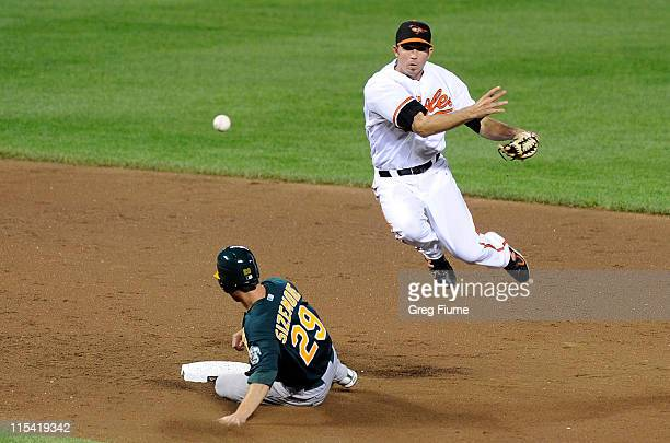 J Hardy of the Baltimore Orioles forces out Scott Sizemore of the Oakland Athletics to start a double play at Oriole Park at Camden Yards on June 6...