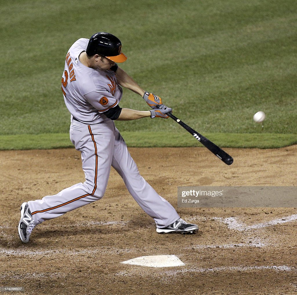 <a gi-track='captionPersonalityLinkClicked' href=/galleries/search?phrase=J.J.+Hardy&family=editorial&specificpeople=216446 ng-click='$event.stopPropagation()'>J.J. Hardy</a> #2 of the Baltimore Orioles hits a two-run home run in the sixth inning during a game against the Kansas City Royals at Kauffman Stadium on July 22, 2013 in Kansas City, Missouri.