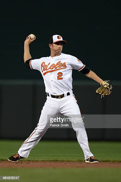 J Hardy of the Baltimore Orioles in action against the Tampa Bay Rays at Oriole Park at Camden Yards on April 14 2014 in Baltimore Maryland The...