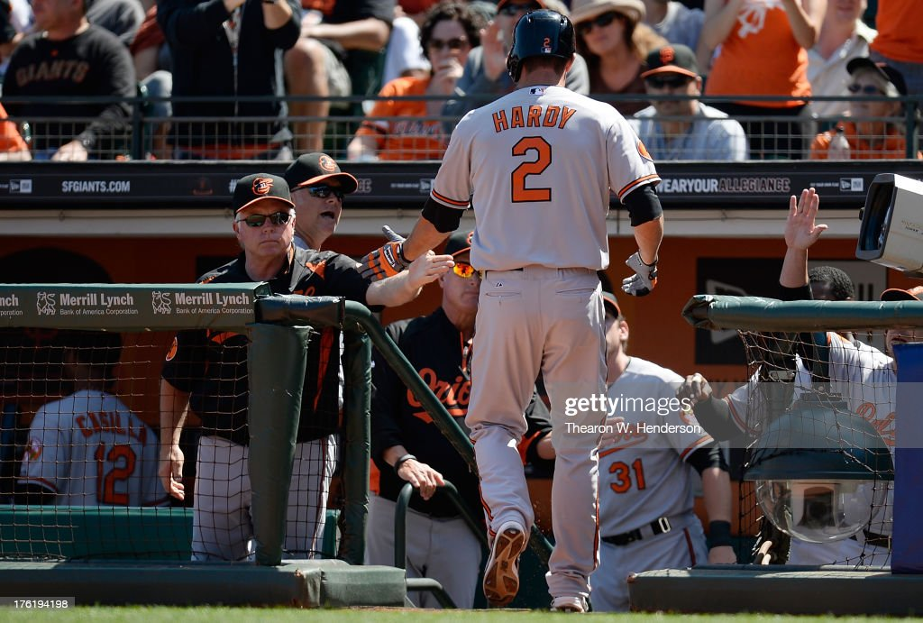 <a gi-track='captionPersonalityLinkClicked' href=/galleries/search?phrase=J.J.+Hardy&family=editorial&specificpeople=216446 ng-click='$event.stopPropagation()'>J.J. Hardy</a> #2 of the Baltimore Orioles is congratulated by manager <a gi-track='captionPersonalityLinkClicked' href=/galleries/search?phrase=Buck+Showalter&family=editorial&specificpeople=208183 ng-click='$event.stopPropagation()'>Buck Showalter</a> #26 after Hardy hit a two-run homer in the sixth inning against the San Francisco Giants at AT&T Park on August 11, 2013 in San Francisco, California. Davis was on base when Hardy hit the home run.