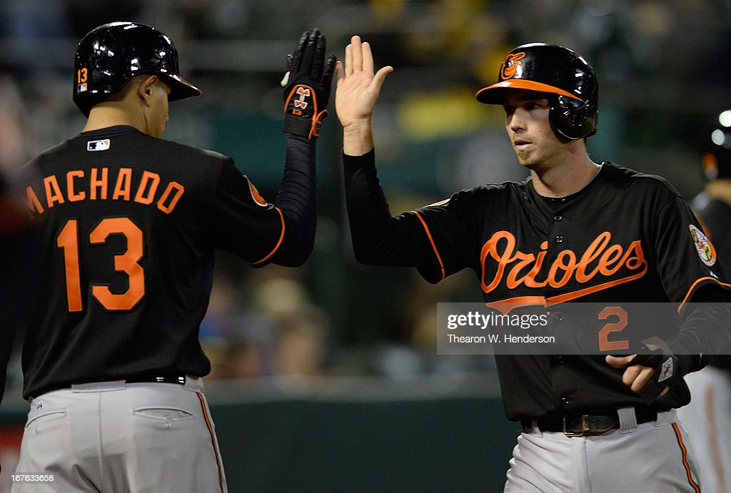 <a gi-track='captionPersonalityLinkClicked' href=/galleries/search?phrase=J.J.+Hardy&family=editorial&specificpeople=216446 ng-click='$event.stopPropagation()'>J.J. Hardy</a> #2 of the Baltimore Orioles is congratulated by <a gi-track='captionPersonalityLinkClicked' href=/galleries/search?phrase=Manny+Machado&family=editorial&specificpeople=5591039 ng-click='$event.stopPropagation()'>Manny Machado</a> #13 after Hardy scored on an error by Jed Lowrie (not pictured) of the Oakland Athletics in the ninth inning at O.co Coliseum on April 26, 2013 in Oakland, California. The Orioles won the game 3-0.