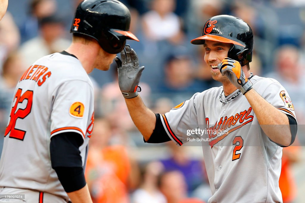 J.J. Hardy #20 of the Baltimore Orioles is congratulated by teammate Matt Wieters #32 after Hardy hit a three run home run during the seventh inning of a MLB baseball game against the New York Yankees at Yankee Stadium on September 1, 2013 in the Bronx borough of New York City.