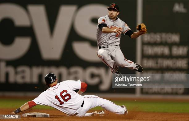 J Hardy of the Baltimore Orioles leaps over sliding Will Middlebrooks of the Boston Red Sox to turn a double play during the eleventh inning of the...