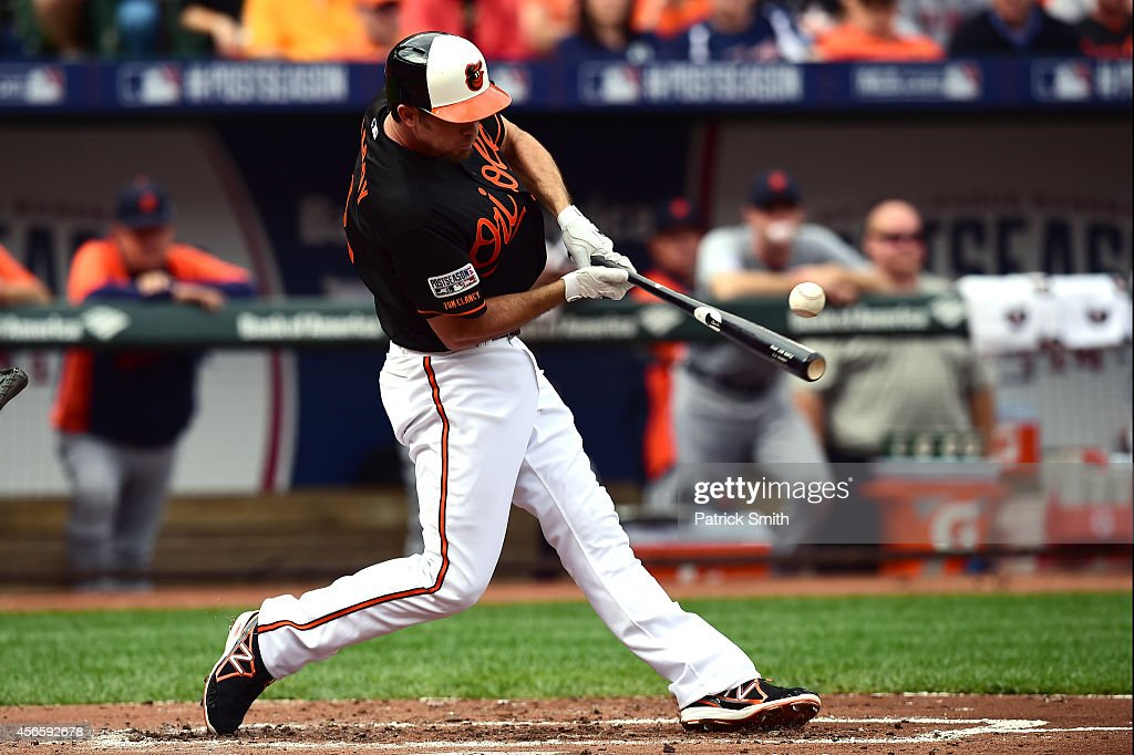 <a gi-track='captionPersonalityLinkClicked' href=/galleries/search?phrase=J.J.+Hardy&family=editorial&specificpeople=216446 ng-click='$event.stopPropagation()'>J.J. Hardy</a> #2 of the Baltimore Orioles lines out to third in the second inning against Justin Verlander #35 of the Detroit Tigers during Game Two of the American League Division Series at Oriole Park at Camden Yards on October 3, 2014 in Baltimore, Maryland.