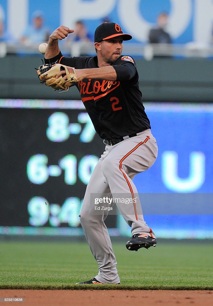 <a gi-track='captionPersonalityLinkClicked' href=/galleries/search?phrase=J.J.+Hardy&family=editorial&specificpeople=216446 ng-click='$event.stopPropagation()'>J.J. Hardy</a> #2 of the Baltimore Orioles loses the grip on the ball as he fields a hit by Alcides Escobar #2 of the Kansas City Royals in the first inning at Kauffman Stadium on April 22, 2016 in Kansas City, Missouri. Escobar was safe on the play.