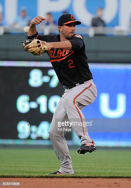 J Hardy of the Baltimore Orioles loses the grip on the ball as he fields a hit by Alcides Escobar of the Kansas City Royals in the first inning at...