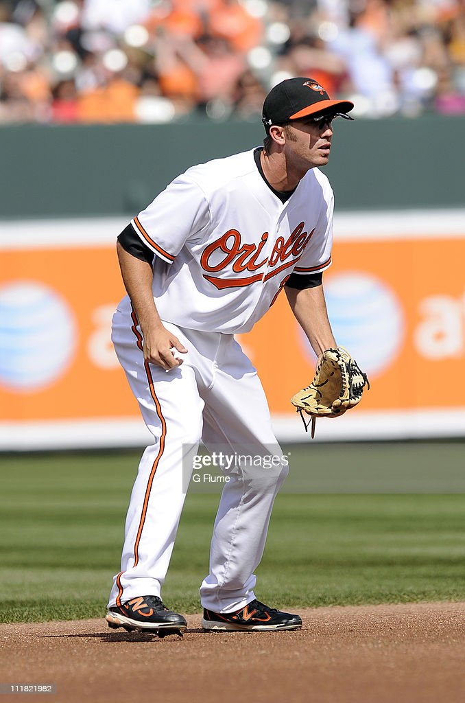 J.J. Hardy #2 of the Baltimore Orioles plays shortstop against the Detroit Tigers on opening day April 4, 2011 at Camden Yards in Baltimore, Maryland.