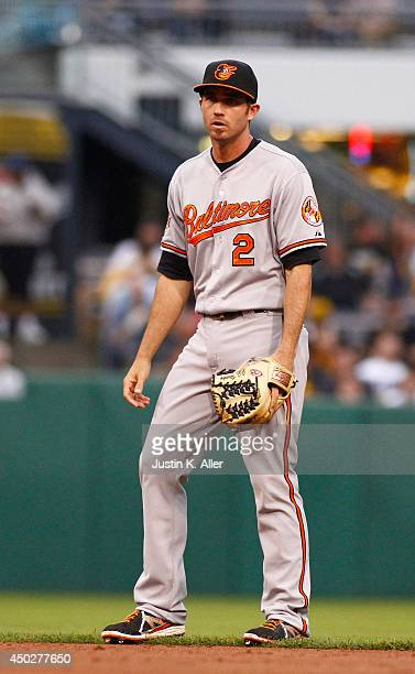J Hardy of the Baltimore Orioles plays the field against the Pittsburgh Pirates during inter league play at PNC Park May 20 2014 in Pittsburgh...