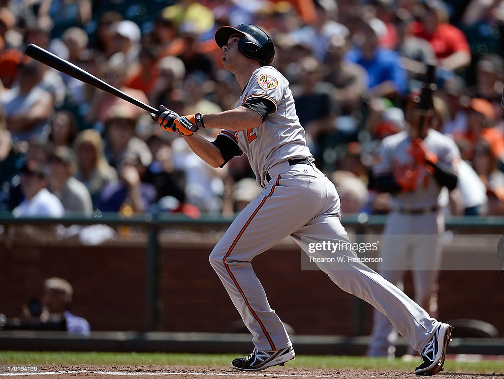<a gi-track='captionPersonalityLinkClicked' href=/galleries/search?phrase=J.J.+Hardy&family=editorial&specificpeople=216446 ng-click='$event.stopPropagation()'>J.J. Hardy</a> #2 of the Baltimore Orioles swings and watches the flight of his ball as he hits a two-run homer in the sixth inning against the San Francisco Giants at AT&T Park on August 11, 2013 in San Francisco, California.
