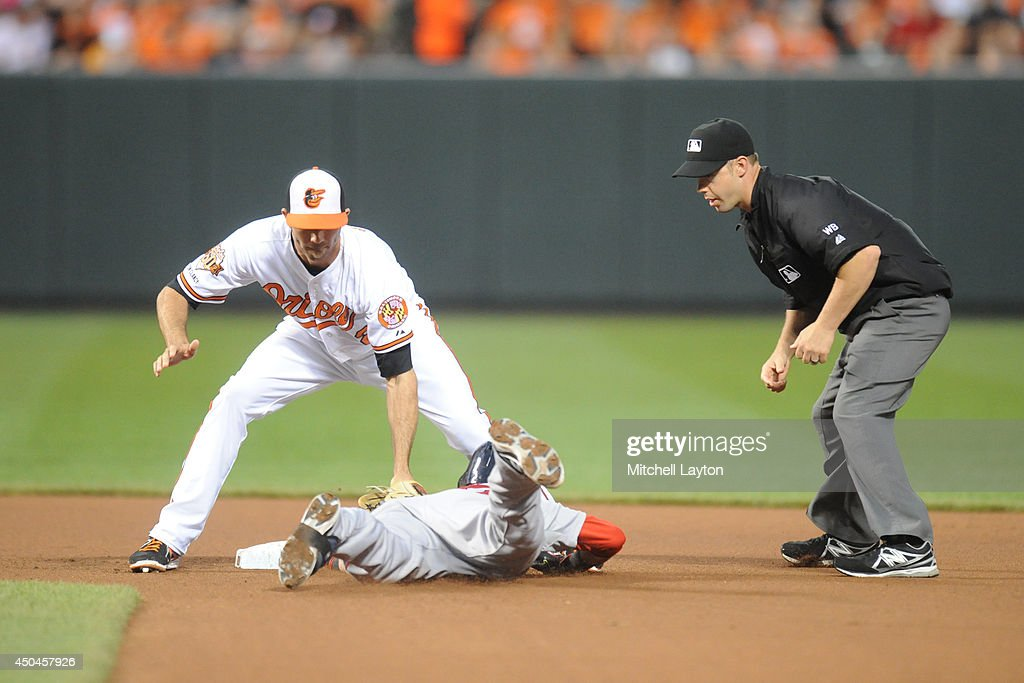 <a gi-track='captionPersonalityLinkClicked' href=/galleries/search?phrase=J.J.+Hardy&family=editorial&specificpeople=216446 ng-click='$event.stopPropagation()'>J.J. Hardy</a> #2 of the Baltimore Orioles tags out <a gi-track='captionPersonalityLinkClicked' href=/galleries/search?phrase=Dustin+Pedroia&family=editorial&specificpeople=836339 ng-click='$event.stopPropagation()'>Dustin Pedroia</a> #15 of the Boston Red Sox in the fourth inning after trying to stretch out a single during a baseball game on June 11, 2014 at Oriole Park at Camden Yards in Baltimore, Maryland.