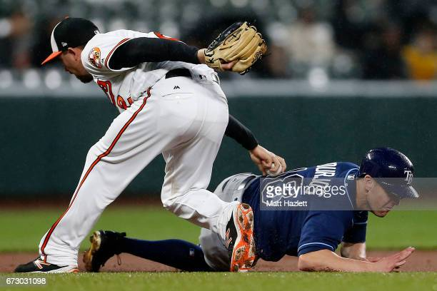 J Hardy of the Baltimore Orioles tags out Peter Bourjos of the Tampa Bay Rays for the first out of the third inning at Oriole Park at Camden Yards on...