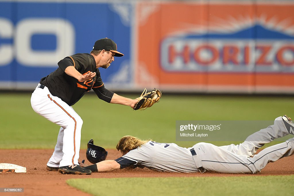 <a gi-track='captionPersonalityLinkClicked' href=/galleries/search?phrase=J.J.+Hardy&family=editorial&specificpeople=216446 ng-click='$event.stopPropagation()'>J.J. Hardy</a> #2 of the Baltimore Orioles tags out Taylor Motter #38 of the Tampa Bay Rays trying to steal second base in the forth inning during a baseball game at Oriole Park at Camden Yards on June 24, 2016 in Baltimore, Maryland.
