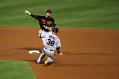 J Hardy of the Baltimore Orioles throws to first base to turn a double play after forcing out Chris Gimenez of the Cleveland Indians at second base...