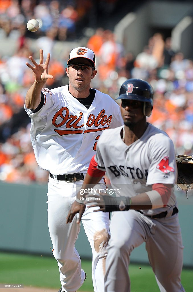 <a gi-track='captionPersonalityLinkClicked' href=/galleries/search?phrase=J.J.+Hardy&family=editorial&specificpeople=216446 ng-click='$event.stopPropagation()'>J.J. Hardy</a> #2 of the Baltimore Orioles tosses the ball during a rundown of <a gi-track='captionPersonalityLinkClicked' href=/galleries/search?phrase=Pedro+Ciriaco&family=editorial&specificpeople=5718591 ng-click='$event.stopPropagation()'>Pedro Ciriaco</a> #77 of the Boston Red Sox at Oriole Park at Camden Yards on September 30, 2012 in Baltimore, Maryland.