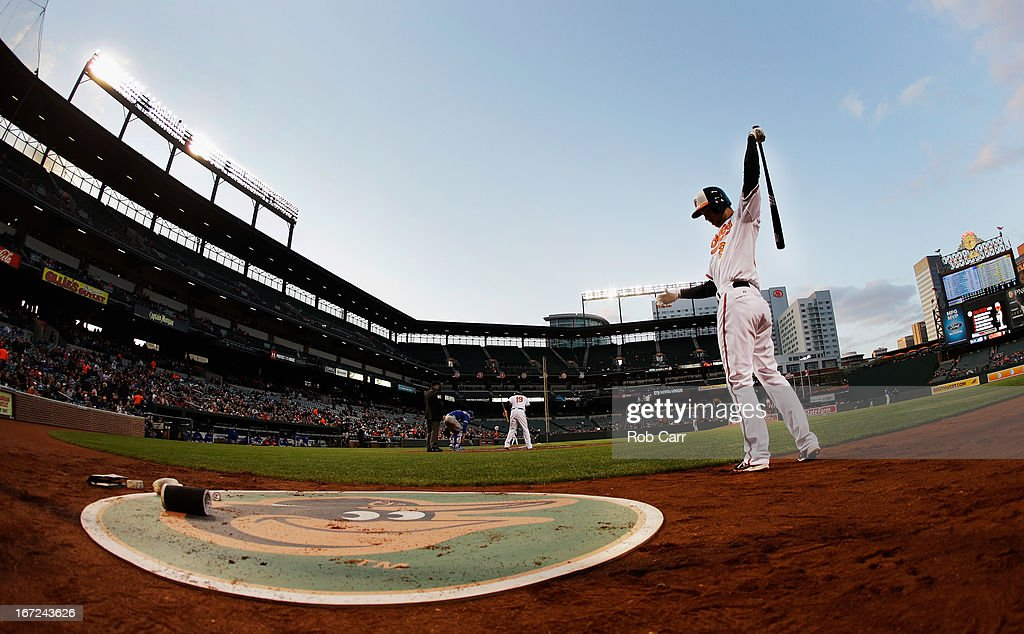 <a gi-track='captionPersonalityLinkClicked' href=/galleries/search?phrase=J.J.+Hardy&family=editorial&specificpeople=216446 ng-click='$event.stopPropagation()'>J.J. Hardy</a> #2 of the Baltimore Orioles waits to bat against the Toronto Blue Jays at Oriole Park at Camden Yards on April 22, 2013 in Baltimore, Maryland.