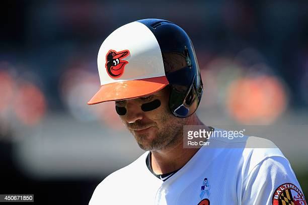 J Hardy of the Baltimore Orioles walks back to the dugout after flying out for the first out of the fifth inning against the Toronto Blue Jays at...