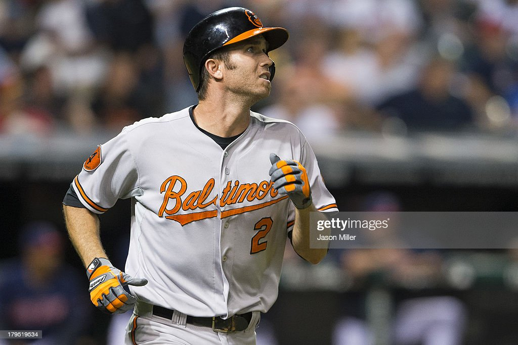 <a gi-track='captionPersonalityLinkClicked' href=/galleries/search?phrase=J.J.+Hardy&family=editorial&specificpeople=216446 ng-click='$event.stopPropagation()'>J.J. Hardy</a> #2 of the Baltimore Orioles watches a long fly ball to center for the last out of the top of the sixth inning against the Cleveland Indians at Progressive Field on September 4, 2013 in Cleveland, Ohio.